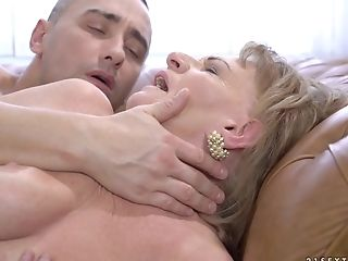Putting his boner into a gilf Sally G.'s throbbing old pussy
