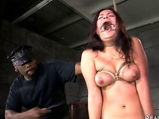 Horny Jack Hammer once again tortures the attractive brunette chick