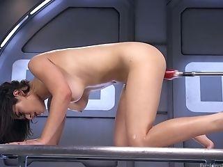 Kinky bitch Raven Rocket enjoys testing a new fucking machine