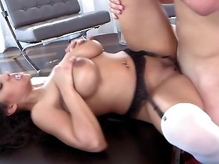 Busty ebony goddess spins the white cock in complete xxx