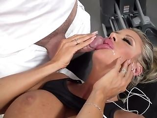 Big Tits, Blonde, Blowjob, Coach, Cougar, Cute, Deepthroat, Facial, Fake Tits, Gym,