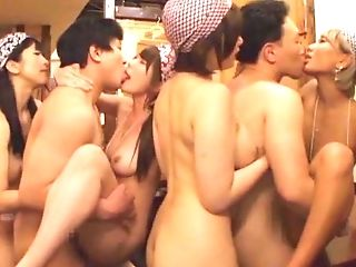 Alluring Asian model screwed roughly in group gangbanged