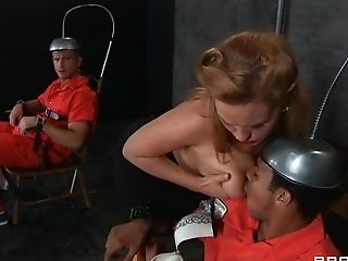 Krissy Lynn is happy to treat a couple of prisoners to her hot body