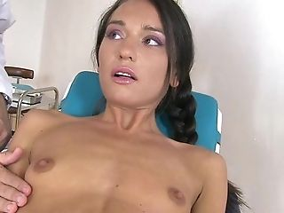 Skinny Brunette Gagged And Rammed By Doctor