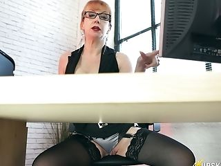 Juggy red haired cougar Red spreads legs wide open under the table