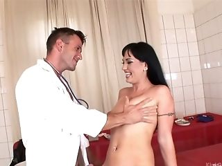 Horny doctor examines and fucks wet pussy of aroused Laura
