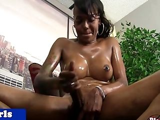 Ebony shemale sprays jizz