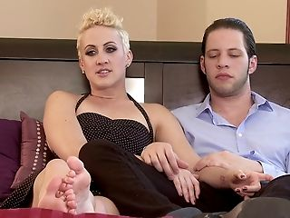 Perfect blonde pegging her guy anal superbly using  nice strapon