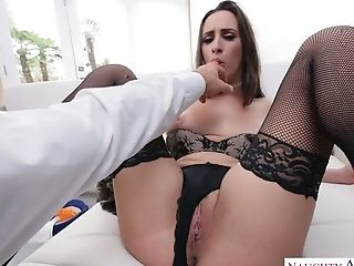 Long legged sexpot in black stockings Ashley Adams treats her stud with titjob