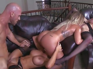 World class cock sharing group porn with three top pornstars