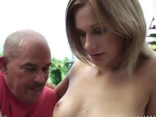 Old and young sex with Pamela Sweet outdoors