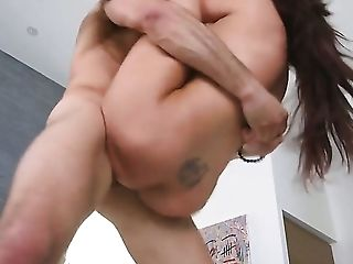 Brunette senora with round ass and hairless snatch can't resist the temptation to take rock hard worm deep in her mouth