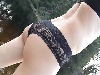 Panties and bra by the lake