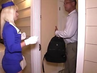 Sexy air hostess gets fucked