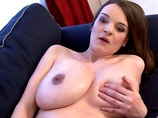 Pregnant Nikol breaths in sharp hitches while masturbating with a fat dildo