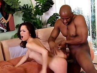 Petite hottie Kristina Rose gets plowed with a monster black rod