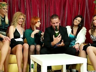 Five ladies with full bladders piss and fuck the guy