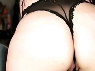 Raven haired chubby hooker with droopy boobs masturbates at kitchen