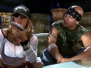 Flamboyant Lexi Love getting a hard bonking from a bald dude