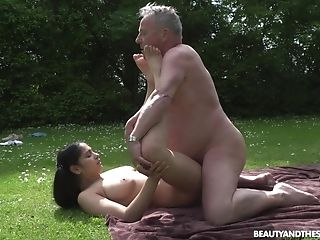 Ava Black adores outside fuck in the garden with her old lover