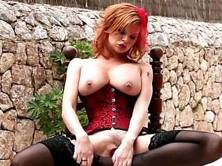 Redhead Tara White with huge boobs can't live a day without touching her slit