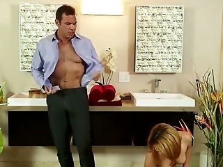 Tiny red haired MILF Liv Aguilera teases kinky stud with nice HJ in bath