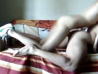 Amateur video of a gay couple fucking bareback on the sofa and on the bed