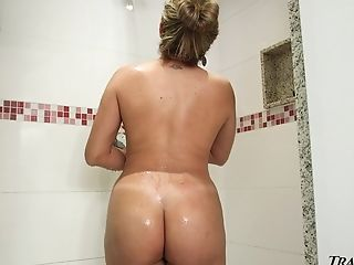 Feeling horny AF in the early morning Tgirl Hilda Brazil goes solo in the shower