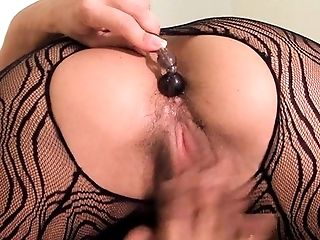 Denise Masino - Black Lace Anal Bead Stretching - Female Bodybuilder