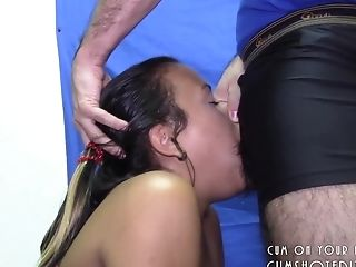 Submissive Brunette Deepthroat And Swallow