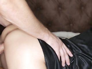Horny Brunette Deep Sucking Dick, Doggystyle & Cum On Ass