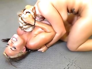 Curvaceous ladies with big tits, Goldie and Fyona got naked and had a wrestling match