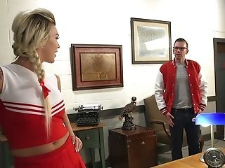 Kinky tranny cheerleader Aubrey Kate fucks dude's ass doggy style