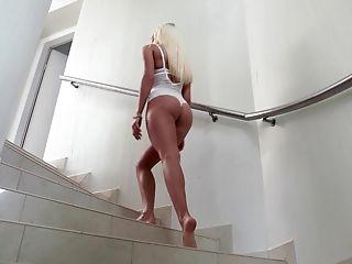 Ass, Babe, Beauty, Blonde, Couch, Cute, European, Feet, Footjob, Hungarian,