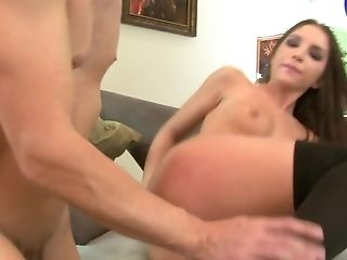 Brunette Giselle Leon gets painted with cum