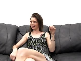 Skinny brunette Bridgete penetrated hardcore while she scream