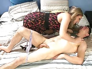 Mistress Julia Ann makes a young sissy fully submit during bondage session