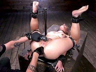 Tied up bootyful hottie Lisey Sweet enjoys anal fisting for the first time