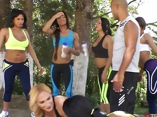 Naughty shemales finally get to fuck a kinky guy outdoors