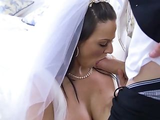 Anal Sex, Bedroom, Big Cock, Big Tits, Blowjob, Bride, Brunette, Doggystyle, Dress, Fake Tits,
