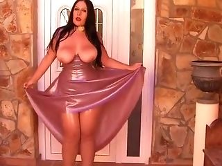 Hot Latex Poison - Rubber Lady Blowjob Handjob in the Living Room - Cum on my Tits