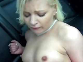 Blonde in red Alex Little gets fucked in the backseat of a car